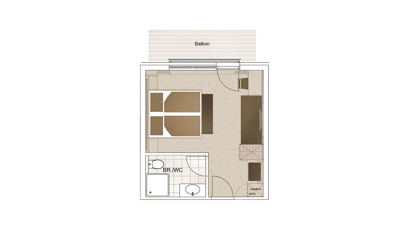Grundriss - Zimmer für 3 Personen, komfortable Zimmer in Flachau