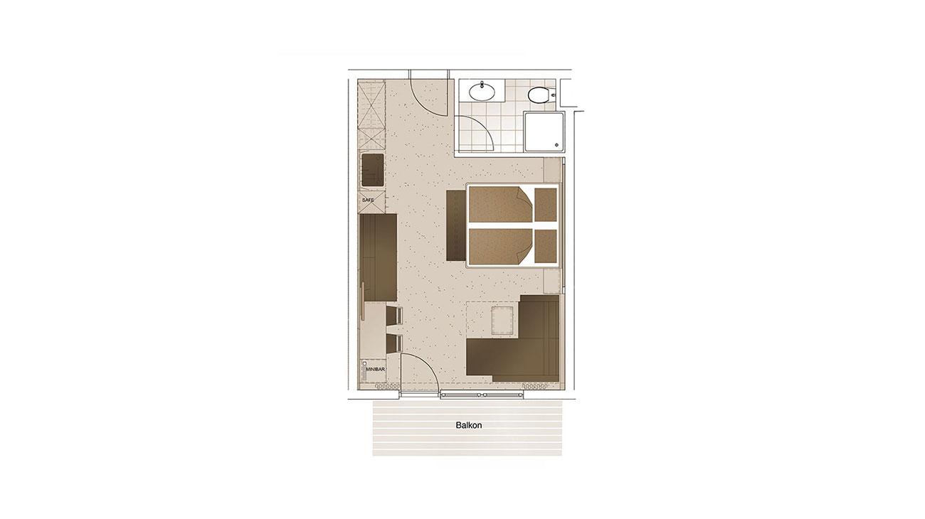 Grundriss - Zimmer für 4 Personen, komfortable Zimmer in Flachau